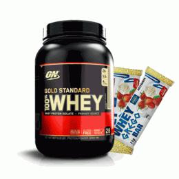 100% Whey Protein Gold Standard (909g) + 2 Whey Grego Bar (40g)